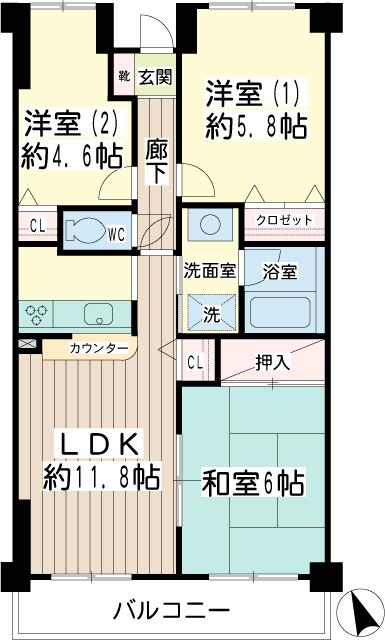 北寺尾大滝マンション・0306号室の間取り
