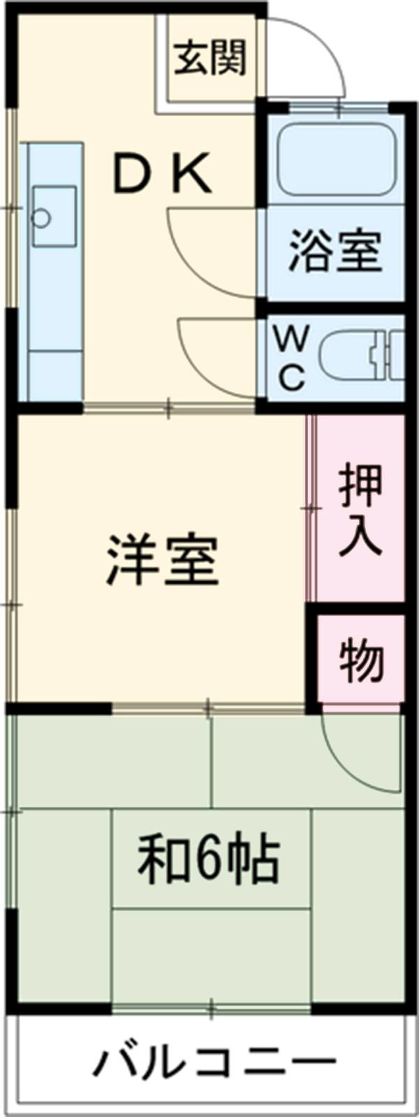 濱辺荘 301号室の間取り