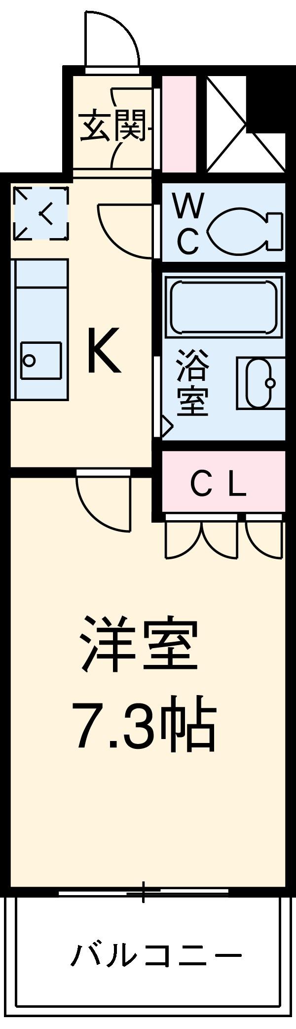 スペーシア川崎Ⅲ 411号室の間取り
