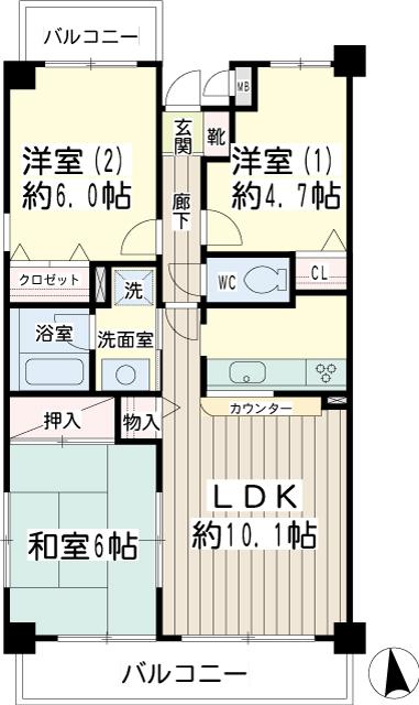 北寺尾大滝マンション・0307号室の間取り