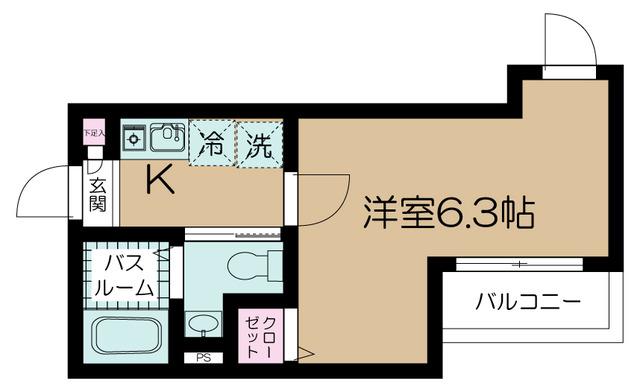 フェリーチェ梅屋敷Ⅱ・304号室の間取り