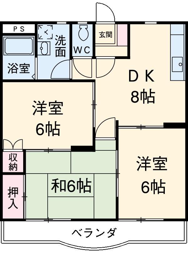 武蔵村山ウエストハイツ・303号室の間取り