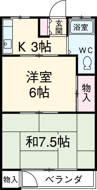 第2平田荘・201号室の間取り