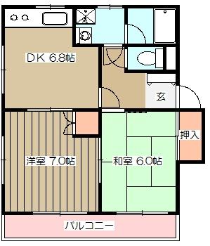 メゾンドカルムA・202号室の間取り