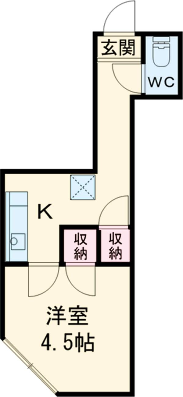 内藤荘・B-201号室の間取り