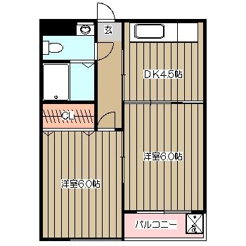福井コーポラス国立 303号室の間取り
