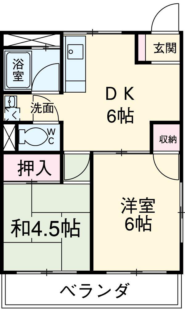 東元町第一マンション・201号室の間取り