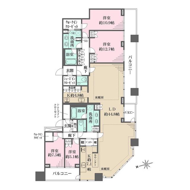 ナビューレ横浜タワーレジデンス 40F号室の間取り