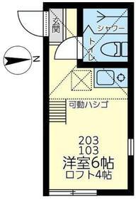 ユナイト鶴見グランチャコ・203号室の間取り
