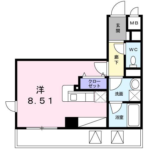 パラッツオ八ッ山・04050号室の間取り
