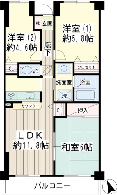 北寺尾大滝マンション・0206号室の間取り