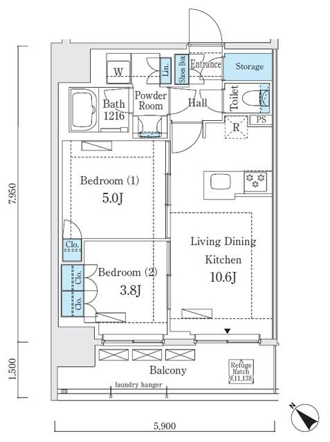 リビオメゾン大崎・1301号室の間取り