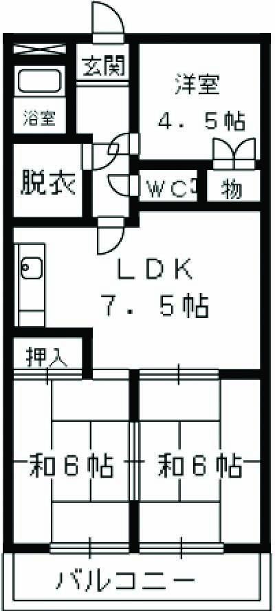スクエアマンション KITOU 202号室の間取り