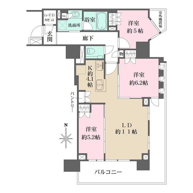 プラウドタワー名古屋丸の内 407号室の間取り
