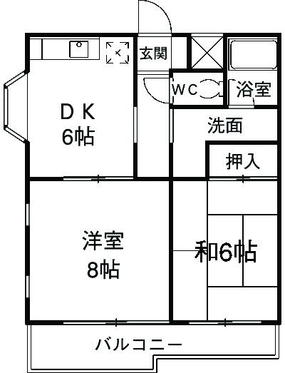 アビタ武蔵野・208号室の間取り