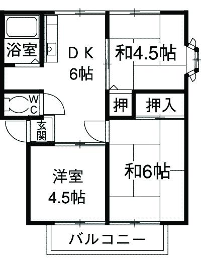 エスポワール湘南C・201号室の間取り
