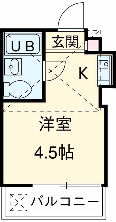 サンライズ武蔵野・203号室の間取り