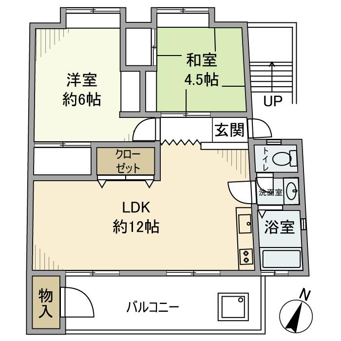 公社久米川駅東住宅23号棟 302号室の間取り