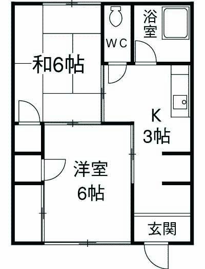 伊藤アパート 1B号室の間取り