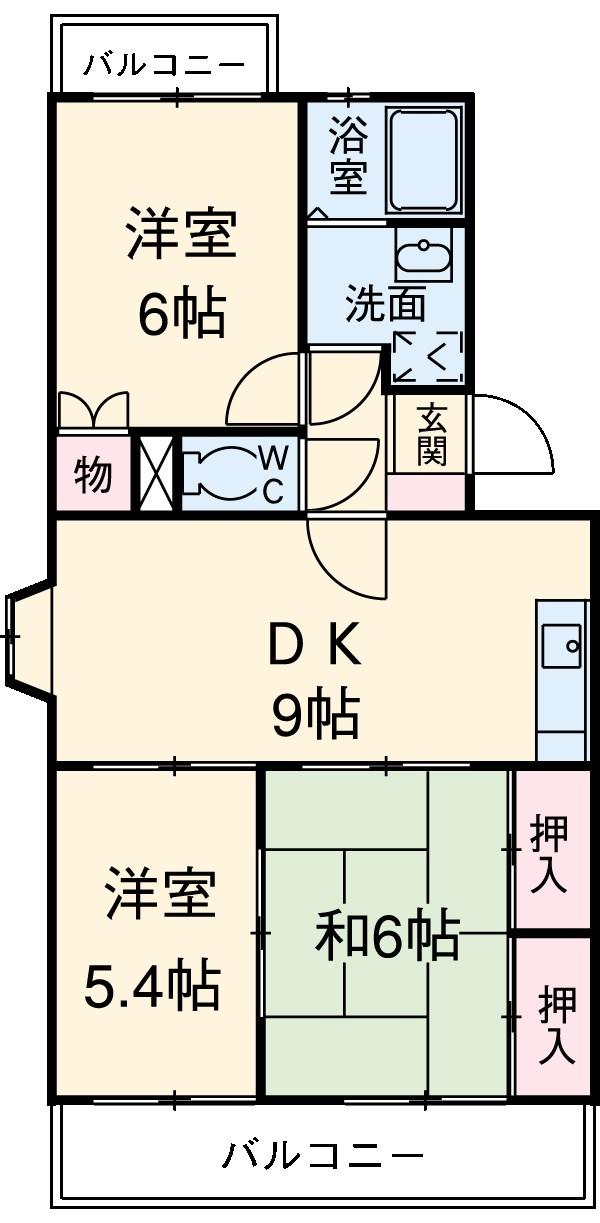 ヴェネッセ徳田 B棟・402号室の間取り