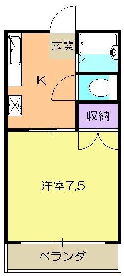 コーポ田宮園・A203号室の間取り