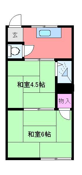 神尾荘・201号室の間取り