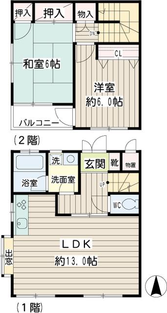 加賀原2丁目テラスハウス・000A号室の間取り