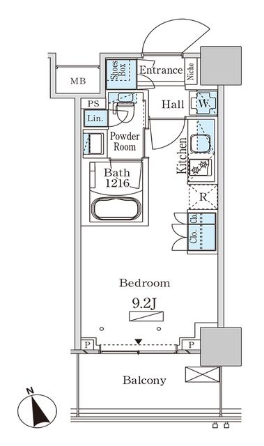 パークアクシス大塚ステーションゲートタワ・1606号室の間取り