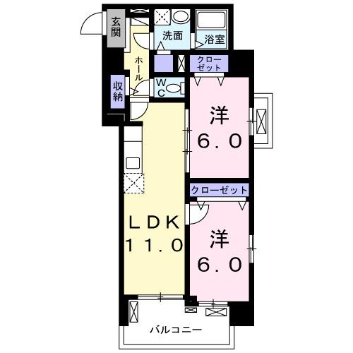 メゾンド・ボナー扇 弐番館・05050号室の間取り