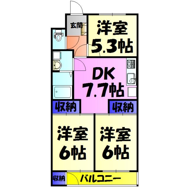菊栄ハイツ・205号室の間取り