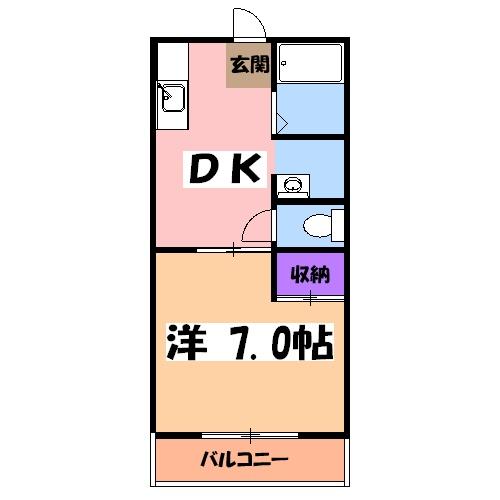 宝積寺ハイツJ・202号室の間取り