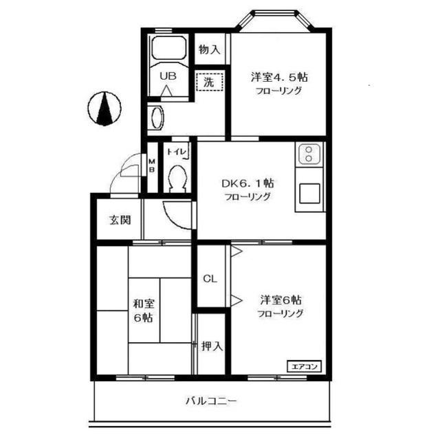 関町田中コーポ 304号室の間取り