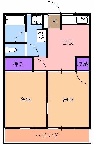 宝積寺コーポ・206号室の間取り