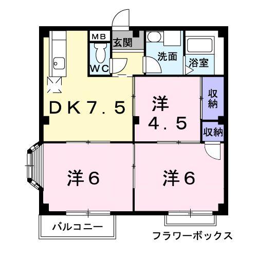 エルディム篠塚B棟・01030号室の間取り