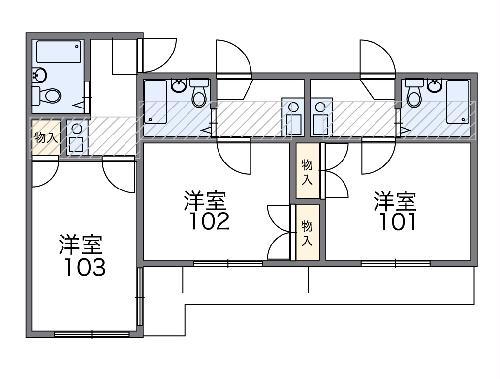 レオパレス西川田第1 102号室の間取り