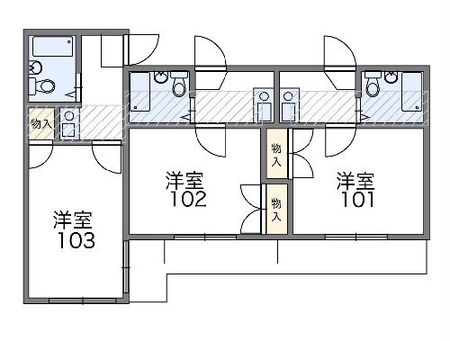 レオパレス西川田第1 202号室の間取り