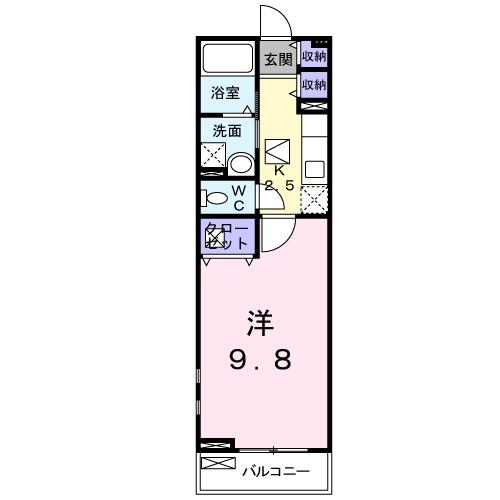 プレ・アビタシオン土浦Ⅳ 01030号室の間取り