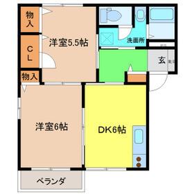 ディアコート A棟・102号室の間取り