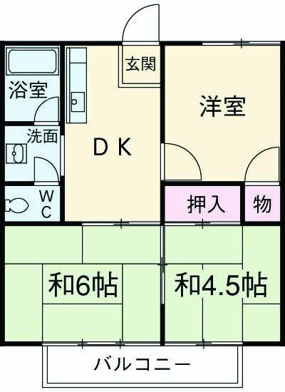 川本コーポ中屋敷 203号室の間取り