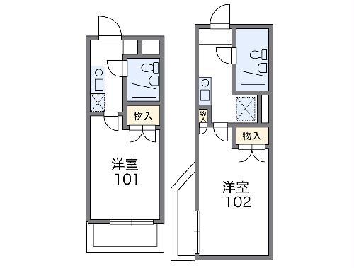 レオパレスRX早川・102号室の間取り