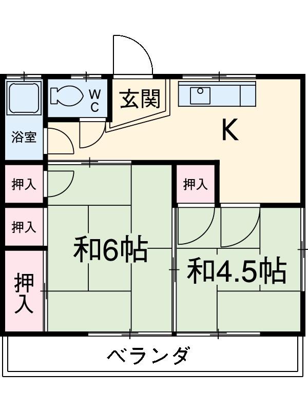 和歌喜荘 101号室の間取り