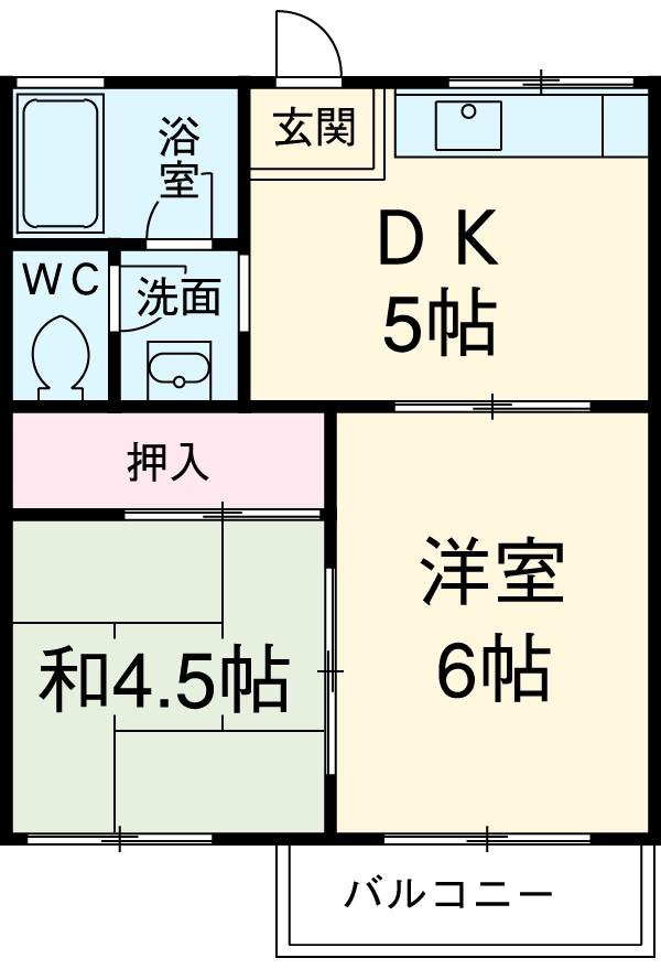 第1広田モンドハイツ・206号室の間取り