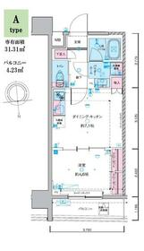 ジェノヴィア東神田グリーンヴェール・1203号室の間取り