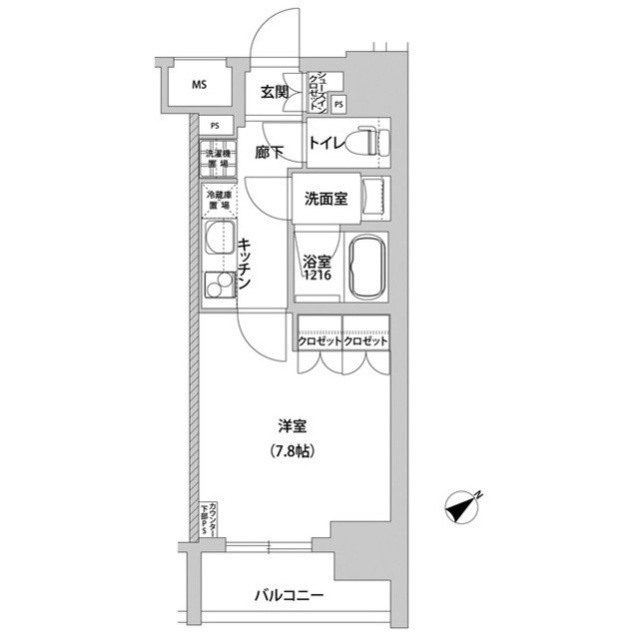 メトロステージ上野 0209号室の間取り