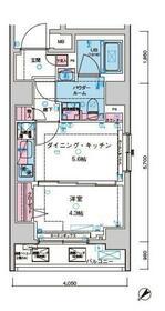 ジェノヴィア水天宮前Ⅱスカイガーデン・801号室の間取り