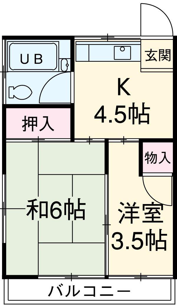 菅谷荘・2A号室の間取り