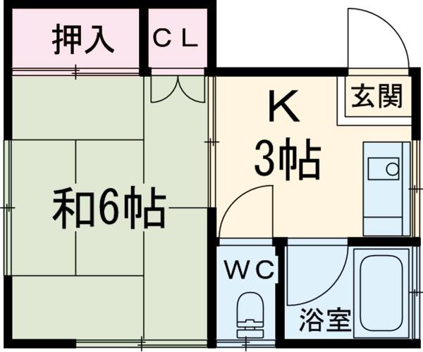 富士荘 2-2号室の間取り