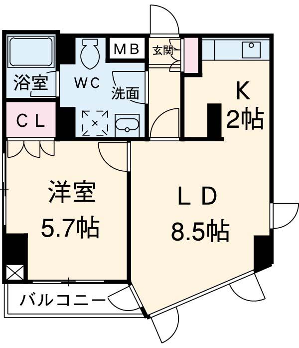 ヴィルラフィーネ東新宿・804号室の間取り