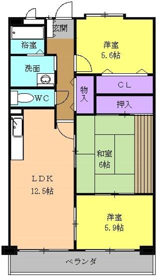 OHSADAハイツ上野公園・302号室の間取り