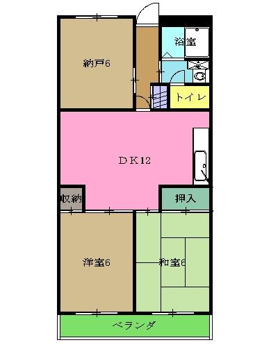 カームタウン相模が丘・305号室の間取り